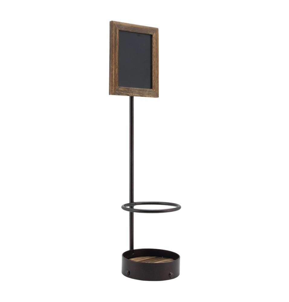 Suport pentru sticla din metal si lemn+tabla neagr
